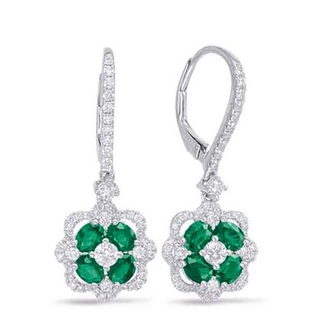 White Gold Emerald & Diamond Hoop Earrin