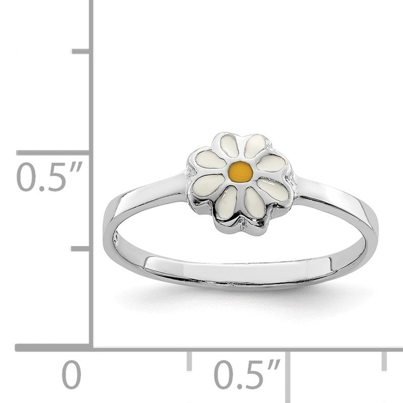 Quality Gold Sterling Silver RH Plated Child's White & Yellow Enamel Daisy Ring