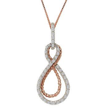 Two Tone Gold Infinity Diamond Pendant