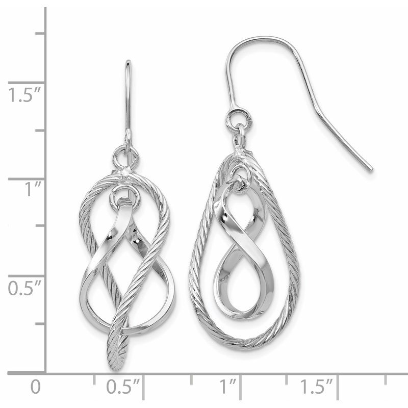 Leslie's Leslie's 10K White Gold Polished Textured Dangle Earrings