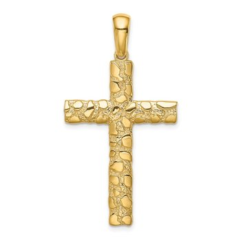 14K Nugget Cross Pendant