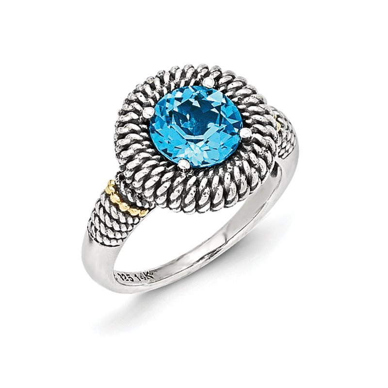 Shey Couture Sterling Silver w/14k Antiqued Light Swiss Blue Topaz Ring