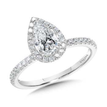 Classic Straight Pear-Shaped Halo Engagement Ring