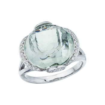 14K White Gold Green Amethyst and Diamond Dome Ring