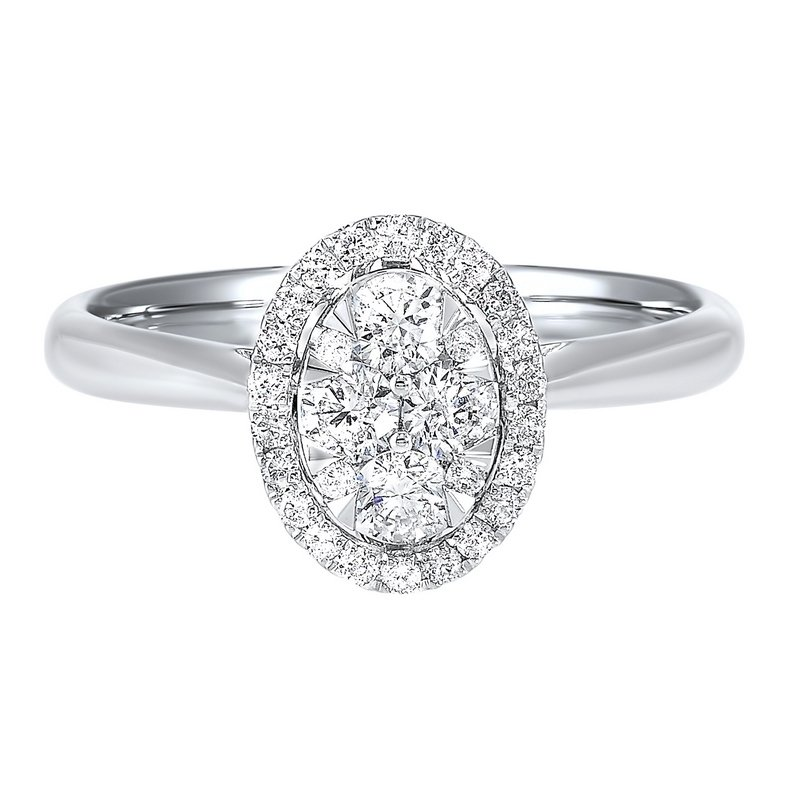 Gems One Diamond Oval Halo Cluster Ring in 14k White Gold (1/2 ctw)