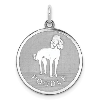 Sterling Silver Rhodium-plated Poodle Disc Charm