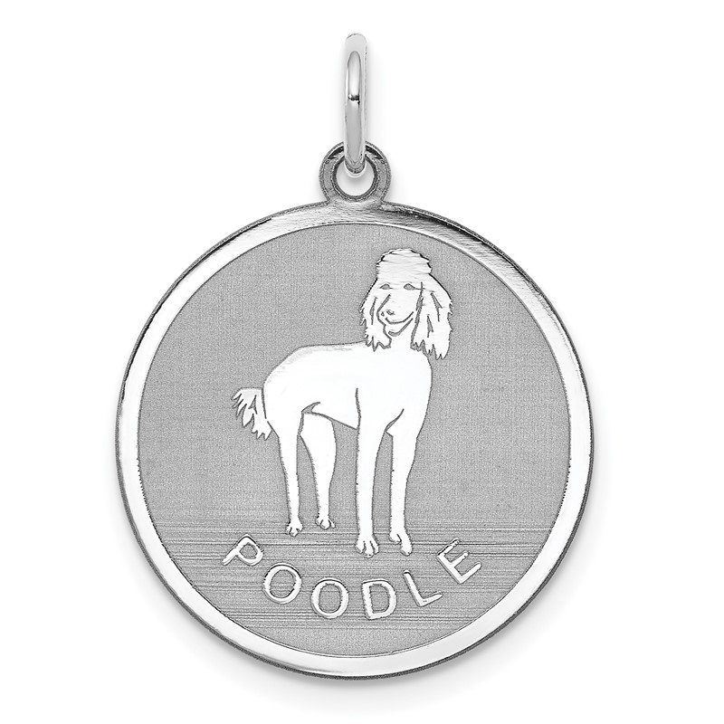 Quality Gold Sterling Silver Rhodium-plated Poodle Disc Charm