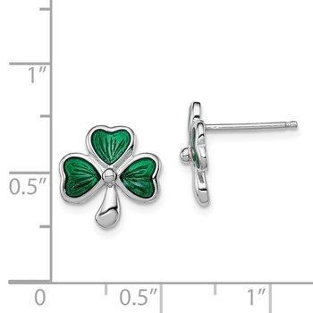 Sterling Silver Rhodium-plated Madi K Enamel Shamrock Post Earrings