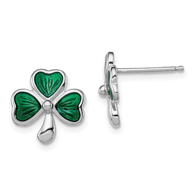 Quality Gold Sterling Silver Rhodium-plated Madi K Enamel Shamrock Post Earrings