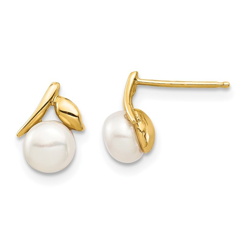 Quality Gold 14K Madi K 5-6mm White Button Freshwater Cultured Pearl Post Earrings