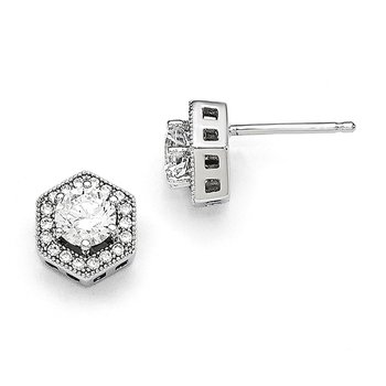 SS Rhodium-Plated CZ Brilliant Embers Hexagon Post Earrings