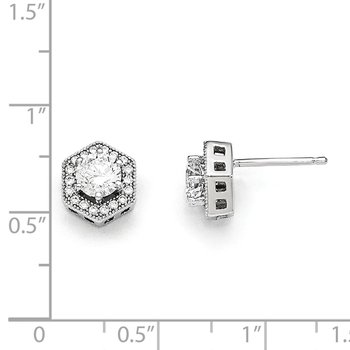 Sterling Silver & CZ Brilliant Embers Hexagon Post Earrings