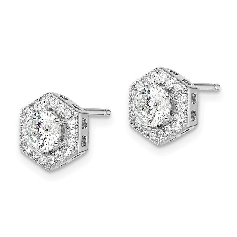 Quality Gold Sterling Silver Brilliant Embers Rhodium-plated CZ Hexagon Post Earrings