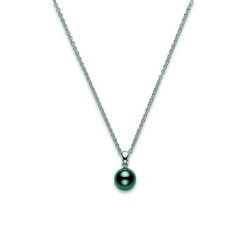 Black Pearl Pendant in 18K White Gold