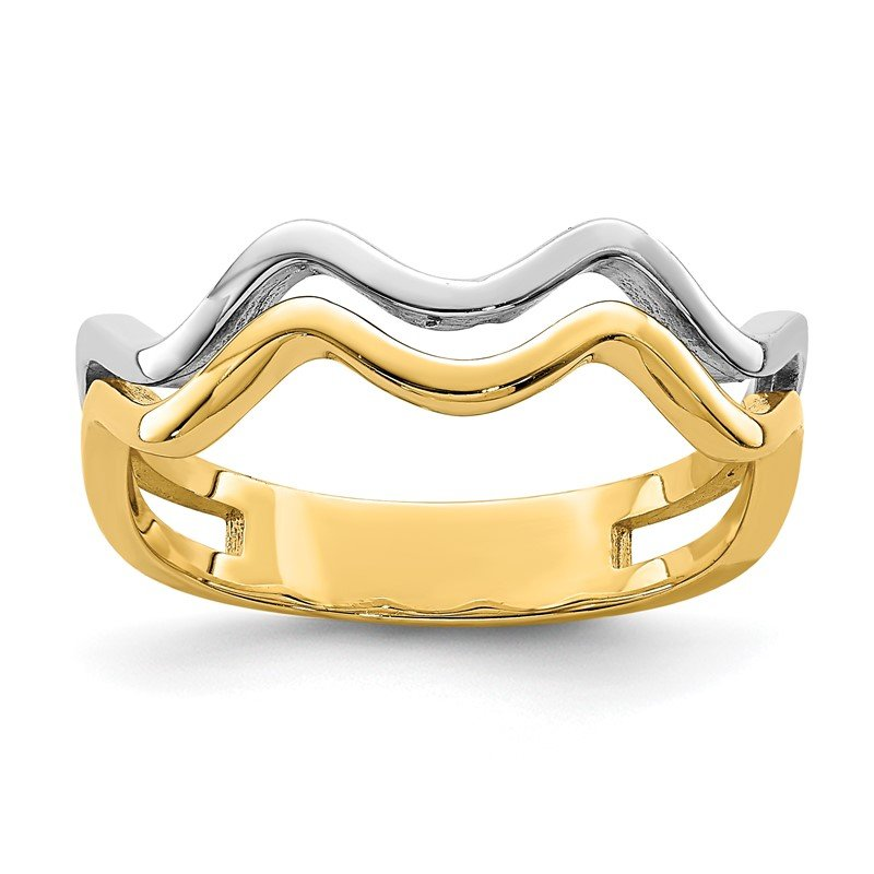 Quality Gold 14K White Rhodium Wave Ring
