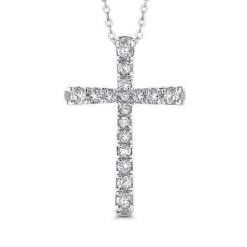 10K White Gold 1/3 Ct Diamond Cross Pendant with Chain