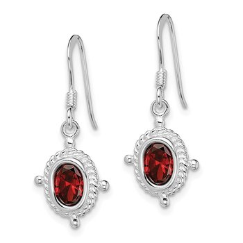 Sterling Silver Rhodium-plated Fancy Garnet Earrings