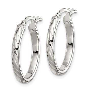 Sterling Silver Textured 3mm Hollow Oval Hoop Earrings