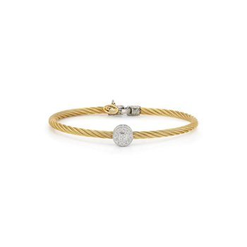 Yellow Cable Essential Stackable Bracelet with Single Large Round Diamond station set in 18kt White Gold