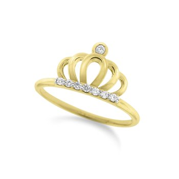 Diamond Crown Ring in 14K Yellow Gold with 8 Diamonds Weighing  .09ct tw