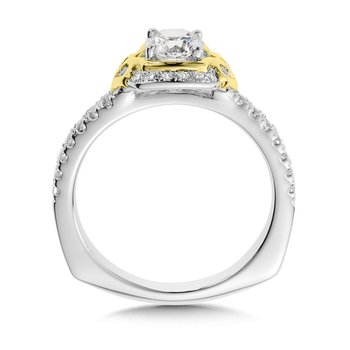 Diamond Halo Engagement Ring Mounting in 14K White/Yellow Gold (.25 ct. tw.)