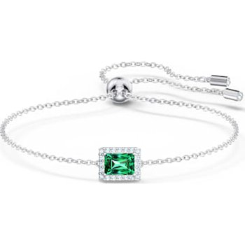 Angelic Rectangular Bracelet, Green, Rhodium plated