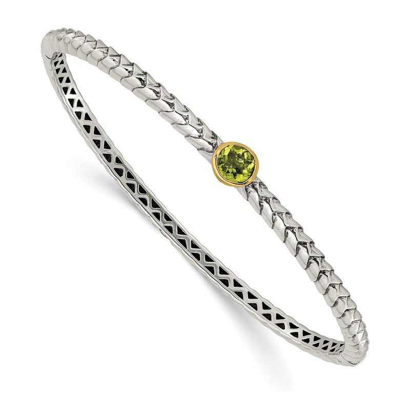 Quality Gold Sterling Silver w/14k Peridot Bangle Bracelet