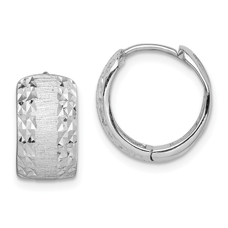 JC Sipe Essentials 14K White Gold D/C Textured Hoop Earrings