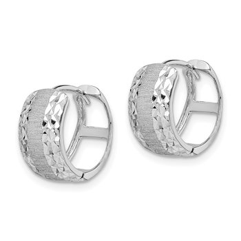 14K White Gold D/C Textured Hoop Earrings
