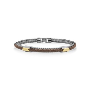 Grey Cable & Brown Leather Bracelet with Dual Yellow Steel Stations