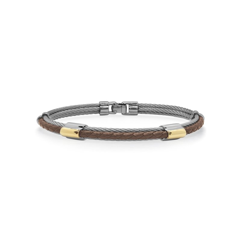 ALOR Grey Cable & Brown Leather Bracelet with Dual Yellow Steel Stations