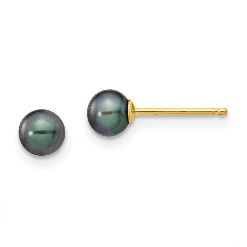 Quality Gold 14k 4-5mm Black Round Freshwater Cultured Pearl Stud Post Earrings