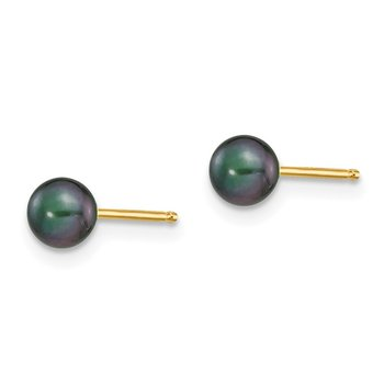 14k 4-5mm Black Round Freshwater Cultured Pearl Stud Post Earrings