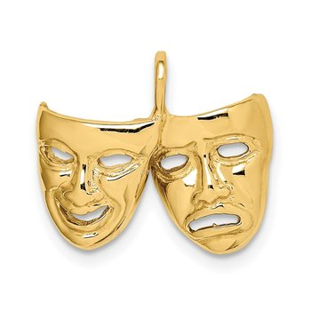 14K Polished Comedy/Tragedy Theater Masks Pendant