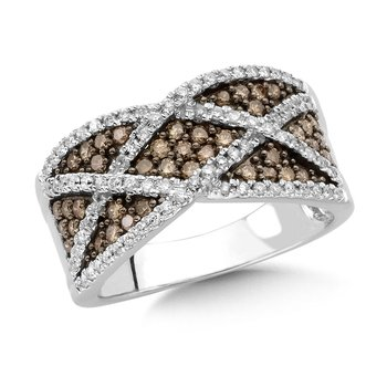 Pave set Cognac and White Diamond open Swirl Fashion Ring in 14k White Gold, (3/4 ct.tw.)
