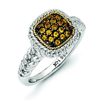Sterling Silver w/14k and Black Rhodium Citrine Ring