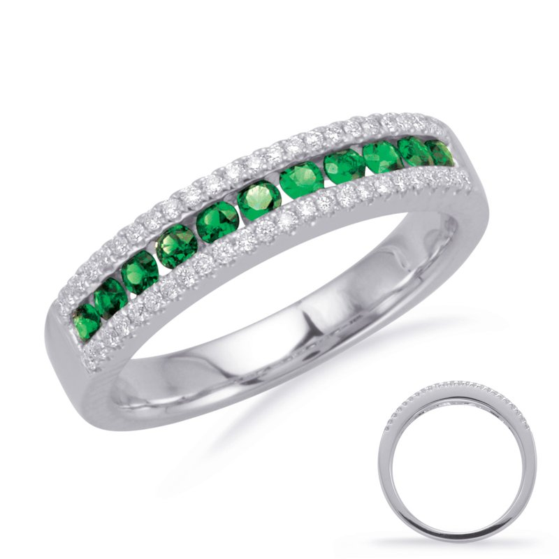 S. Kashi  & Sons White Gold Emerald & Diamond Band