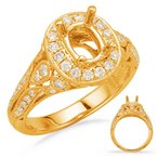 S. Kashi & Sons Bridal WYellow Gold Halo Engagement Ring