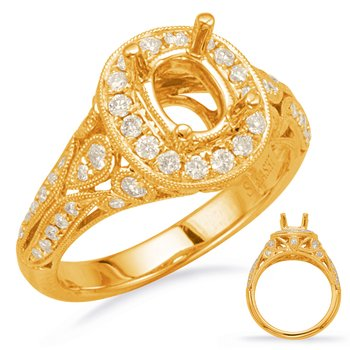 WYellow Gold Halo Engagement Ring