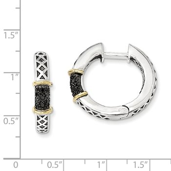Sterling Silver w/14k Antiqued Black Diamond Hinged Hoop Earrings