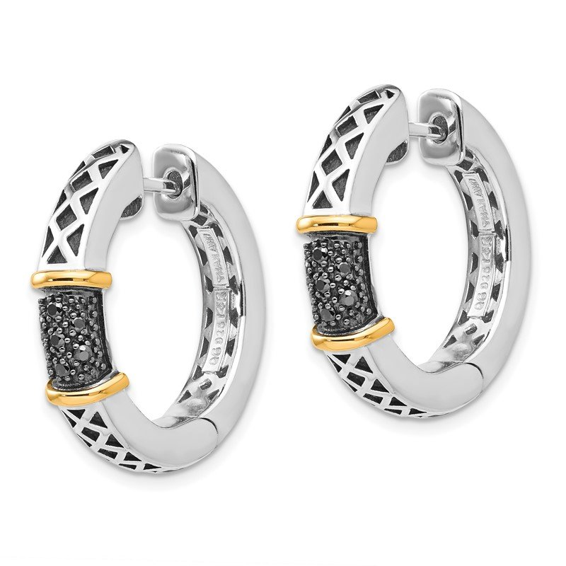 Shey Couture Sterling Silver w/14k Antiqued Black Diamond Hinged Hoop Earrings