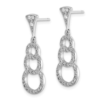 Sterling Silver Rhodium-plated CZ 3-Circles Dangle Post Earrings