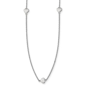 Sterling Silver Rhodium-plated 10 Station Hearts Necklace