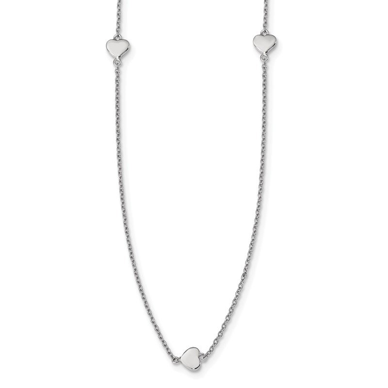Quality Gold Sterling Silver Rhodium-plated 10 Station Hearts Necklace