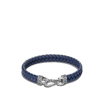 Asli Classic Chain Link 9MM Station Bracelet, Silver, Leather
