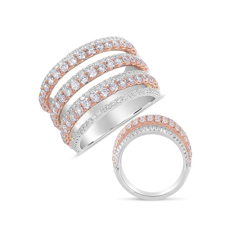 S. Kashi  & Sons White & Rose Gold Pave Diamond Ring