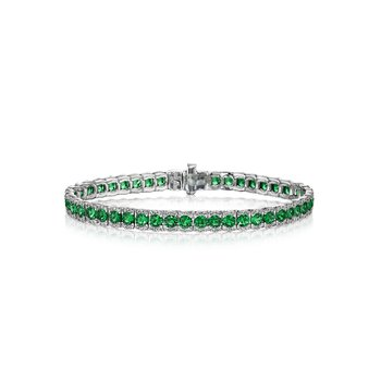 Brilliant in Green Emerald and Diamond Bracelet