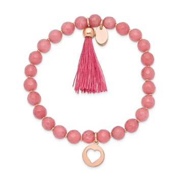 Stainless Steel Polished Rose IP Heart w/Tassel Pink Jade Beaded Bracelet
