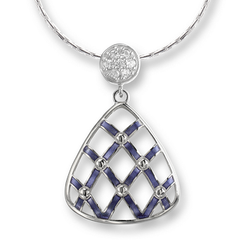Sterling Silver Quilted Triangle Necklace-Purple. White Sapphires