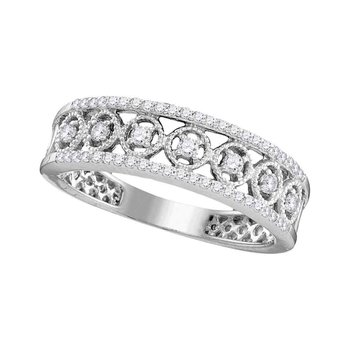 10kt White Gold Womens Round Diamond Filigree Symmetrical Band Ring 1/3 Cttw